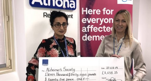 Athona Raises an Exceptional £11,035.28 for Alzheimer's Society in 2018